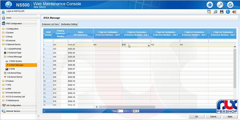 تنظیمات دیزا سانترال NS500